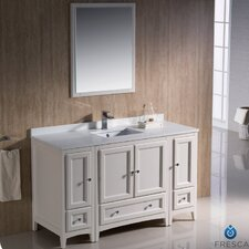 "Oxford 54"" Single Traditional Bathroom Vanity Set with Mirror"