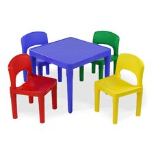 Tot Tutors Kids 5 Piece Square Table and Chair Set