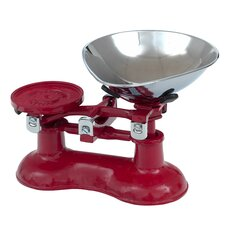 Küchenwaage & verchromte Messingschale in Chilli-Rot