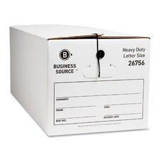 Storage Box, Medium-Duty, Letter, White/Black, 12-Pack