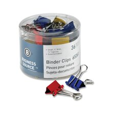 "Binder Clips, Small 3/4""W, 3/8"" Capacity, 36 per Pack, Assorted (Set of 4)"