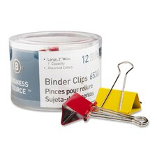 "Binder Clips, Large 2""W, 1"" Capacity, 12 per Pack, Assorted (Set of 3)"