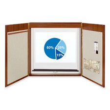 4-in-1 Presentation Conference Magnetic Enclosed Bulletin Board, 4' H x 4' W