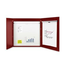 2-door Conference Magnetic Enclosed Whiteboard, 4' H x 4' W