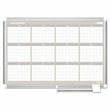 Mastervision 12 Month Year Magnetic Calendar/Planner Whiteboard, 2' H x 3' W