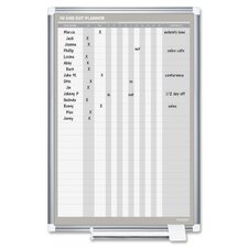 In/Out Wall Mounted Planner Whiteboard, 3' H x 2' W