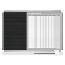 In/Out Wall Mounted Planner Whiteboard, 2' H x 3' W