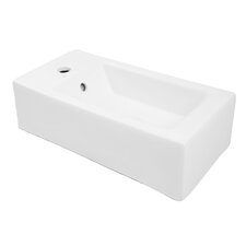"Classically Redefined 20"" Wall Mounted or Above Counter Rectangular Lavatory Sink with Overflow"