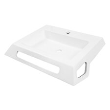 "Solid Surface 25.38"" Ada Compliant Wall Mounted Lavatory Sink with Overflow"