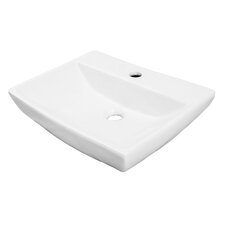 """Classically Redefined 18"""" Wall Mounted or Above Counter Angular Architecture Lavatory Sink with Overflow"""