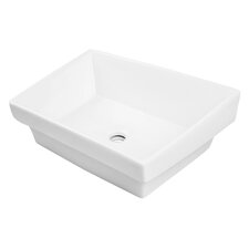 Classically Redefined Rectangular Semi Recessed Vessel Lavatory Sink with Overflow