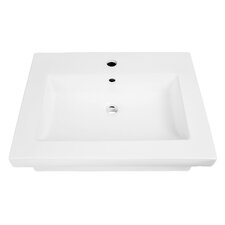 "Classically Redefined 23.5"" Wall-Mounted Rectangular Lavatory Sink with Overflow"