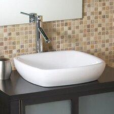 Classically Redefined Square Semi-Recessed Ceramic Vessel Bathroom Sink