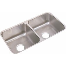 "Lustertone 31.75"" x 16.5"" Double Bowl Undermount Kitchen Sink"