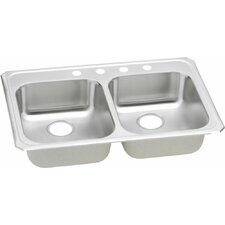 """Celebrity 33"""" x 21.25"""" Self Rimming 4-Hole Double Bowl Kitchen Sink"""