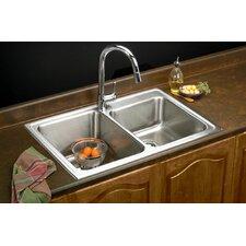 "Lustertone 33"" x 22"" Self Rimming Double Bowl Kitchen Sink"