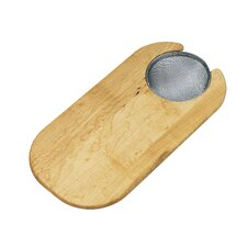 "16"" x 8"" Hardwood Cutting Board with Strainer"