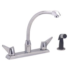 Hi-Arc Double Handle Deck Mount Kitchen Faucet with Side Spray