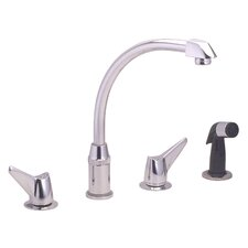 Hi-Arc Double Handle Deck Mount Kitchen Faucet with Side Spray and Hose