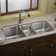 "Lustertone 40"" x 20.5"" Undermount Triple Bowl Kitchen Sink"