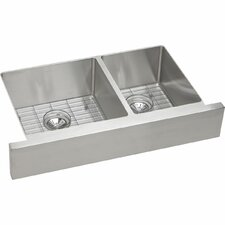 "Crosstown™ 31.50"" x 20.25"" Stainless Steel Double Bowl Apron Front Undermount Kitchen Sink Kit"