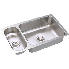 "Gourmet 32.25"" x 18.25"" Package Kitchen Sink with Bottom Grid and Drain Assembly"