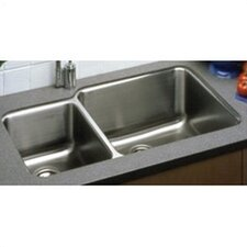 "Lustertone 35.25"" x 20.5"" Undermount Double Bowl 18 Gauge Kitchen Sink"