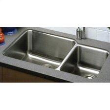 "Lustertone 35.25"" x 20.5"" Undermount Double Bowl 18 Gauge Kitchen Sink"