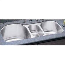 "Lustertone 39.5"" x 20"" Undermount Triple Bowl Kitchen Sink"