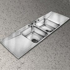 """Lustertone 66"""" x 22"""" 4-Hole Self Rimming Double Bowl Kitchen Sink"""