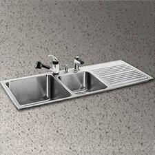 "Gourmet 48"" x 22"" 3-Hole Self Rimming Double Bowl Kitchen Sink"