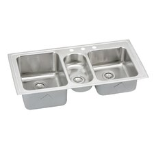 "Gourmet 43"" x 22"" Self Rimming 3-Hole Triple Bowl Kitchen Sink with Faucet"