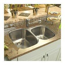 "32"" x 21"" Offset Double Bowl Undermount Kitchen Sink"