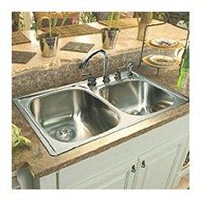 "33"" x 22""  Double Bowl 4 Hole Kitchen Sink"