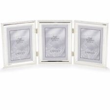 Plated Bead Hinged Triple Picture Frame