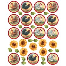 Roosters and Sunflowers Wall Decal
