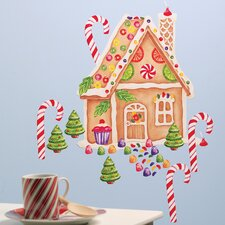 Gingerbread House Vinyl Holiday Wall Decal (Set of 2)