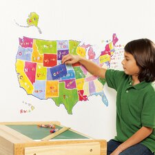 Us State Map Interactive Wall Decal