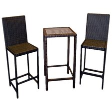 Wicker 3 Piece Bar Set