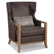 Wood Trimmed Transitional Wing Arm Chair