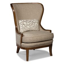High Back Wood Framed Wing Arm Chair