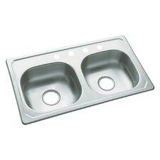 "Southhaven 33"" x 19"" Self Rimming Double Bowl Kitchen Sink"