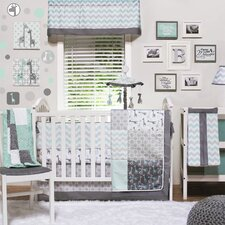 Uptown Giraffe 4 Piece Crib Bedding Set