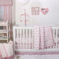 Ellie Chevron 4 Piece Crib Bedding Set