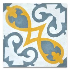 "Agadir 8"" x 8"" Cement Tile in Gray and Yellow"