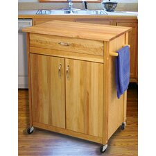 Mid Size Kitchen Cart with Butcher Block Top