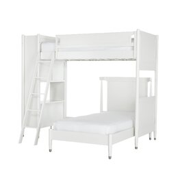 Mid-Century French White Loft Bed with Twin Bed