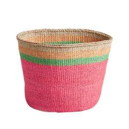 Bright Pink Striped Basket