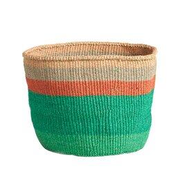 Emerald Basket with Peach Stripes