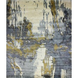 Kanti Bexley Hand Beige/Blue Knotted Area Rug